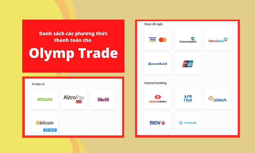 Danh sách các phương thức thanh toán cho Olymp Trade (1)